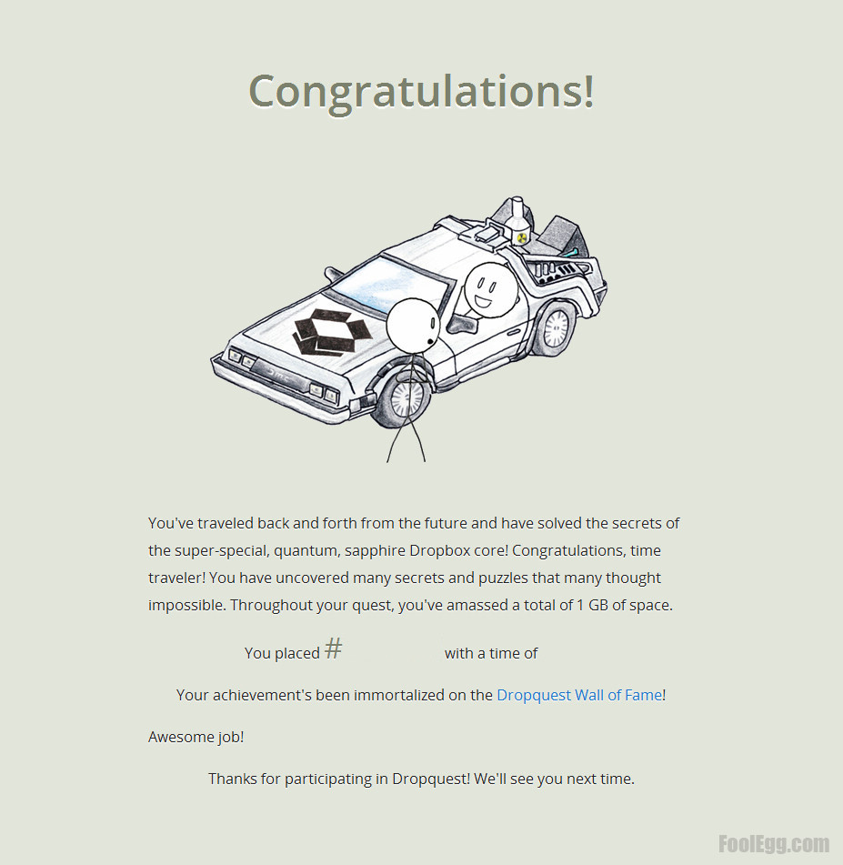 Dropbox - Dropquest 2012 Congratulations