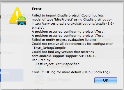 Error: Failed to import Gradle project